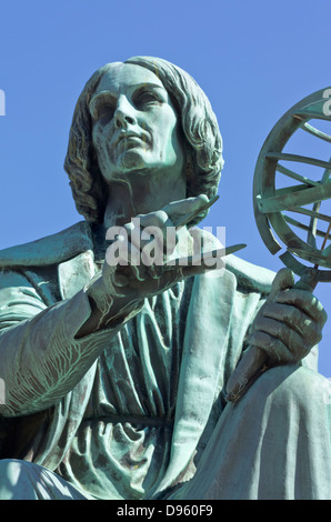 Polish astronomer Nicolaus Copernicus bronze statue in downtown Montreal, Canada - Stock Photo