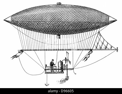 Henri Giffard's (1825-1882) steerable airship of 1852, the first dirigible. Engraving of 1903. - Stock Photo