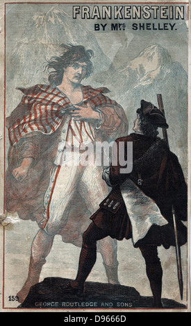 Mary Wollstonecraft Shelley 'Frankenstein or the Modern Prometheus' first published 1818. Cover of late 19th century - Stock Photo