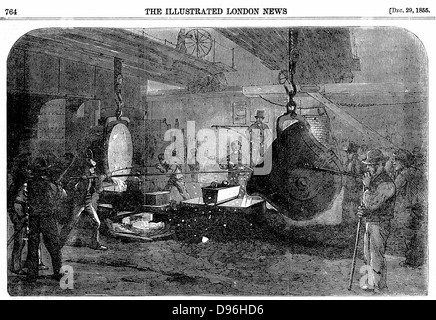 Casting a mortar at Grissell's Regent's Canal Ironworks, City Road, London. Nasmyth safety ladle is being used (invented - Stock Photo