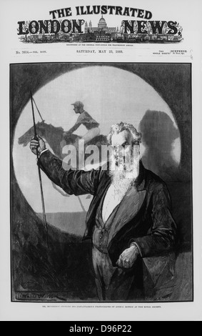 Eadwaerd Muybridge (1830-1904) English-born American inventor and photographer, giving a talk to the Royal Society, - Stock Photo