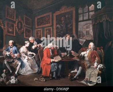Marriage a la mode: The Marriage Settlement', 1743: William Hogarth (1697-1764) English artist. Oil on canvas. - Stock Photo
