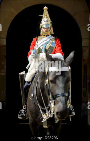 LONDON, UK - A member of the elite British Arny regiment of the Life Guards, who are part of the Household Cavalry, - Stock Photo
