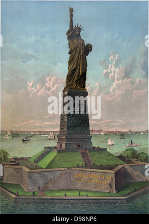 Liberty Enlightening the World: Statue of Liberty in New York Harbour, USA, dedicated on 28 October 1886. Gift from - Stock Photo