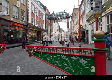 Chinatown main gate in London, Gerrard street, Soho, city of Westminster, United Kingdom - Stock Photo