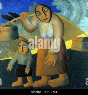 Peasant Woman with Buckets and Child', 1912. Oil on canvas. Kazimir Malevich (1878–1935) Russian artist. Woman walking - Stock Photo