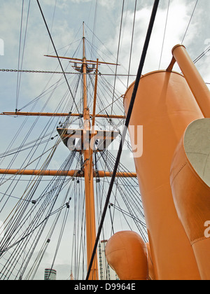HMS Warrior in Portsmouth Historic Dockyard United Kingdom - Stock Photo