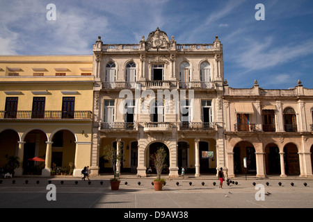 old town square Plaza Vieja in Havana, Cuba, Caribbean - Stock Photo