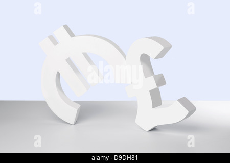 Euro and Pound signs on white background - Stock Photo