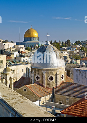 View roof Austrian Hospice to Old City Jerusalem with Dome Rock Dome Armenian Church Our Lady Spasm Israel - Stock Photo