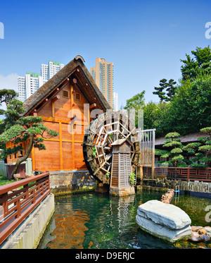 Waterwheel at Nanlian Garden in Diamond Hill District of Hong Kong, China. - Stock Photo
