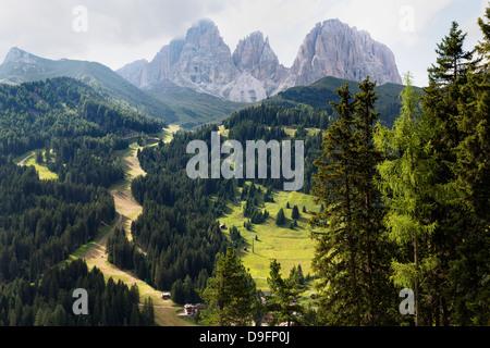 The dramatic Sassolungo mountains in the Dolomites near Canazei, Trentino-Alto Adige, Italy - Stock Photo