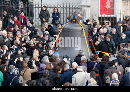 Arrival of the new bell chime on the 850th anniversary of Notre-Dame de Paris, Paris, France - Stock Photo