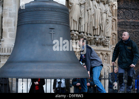Arrival of the new bell chime, the biggest bell weighing six tons, on 850th anniversary of Notre Dame de Paris, - Stock Photo