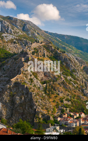 Old Town Fortifications, Kotor, Bay of Kotor, UNESCO World Heritage Site, Montenegro - Stock Photo