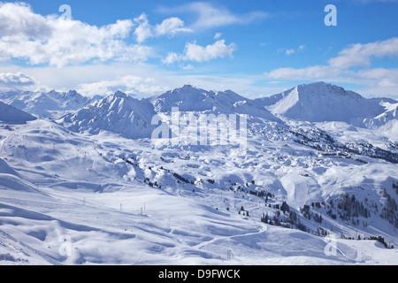 View of slopes near Belle Plagne, La Plagne, Savoie, French Alps, France - Stock Photo