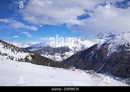 View of Crozats, La Plagne, Savoie, French Alps, France - Stock Photo