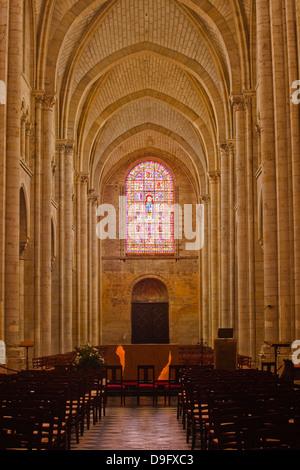 The nave of St.-Julien du Mans Cathedral, Le Mans, Sarthe, Pays de la Loire, France - Stock Photo