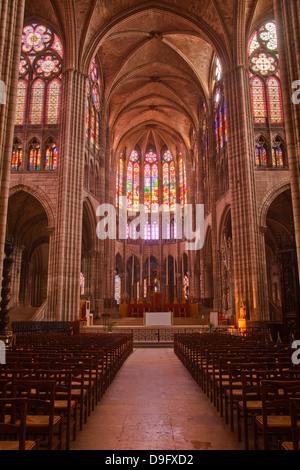 The interior of Saint Denis basilica in Paris, France - Stock Photo