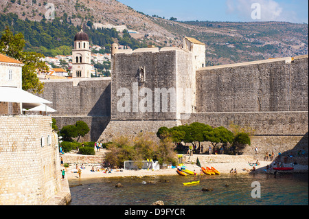 Franciscan Monastery and Dubrovnik City Walls, UNESCO World Heritage Site, Dubrovnik, Dalmatian Coast, Croatia - Stock Photo