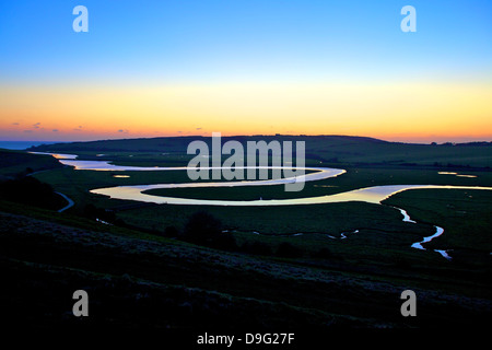 Cuckmere Haven at sunset, South Downs National Park, East Sussex, England, UK - Stock Photo