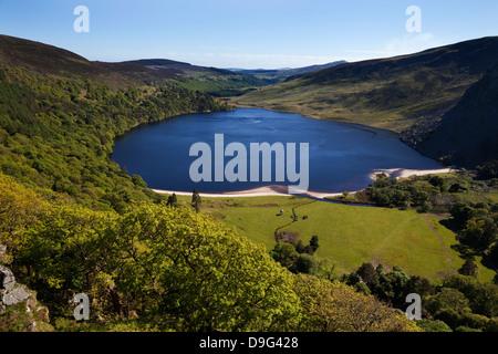 Lough Tay near Ballyhorrigan, below Luggala Mountain, near Sally Gap, County Wicklow National Park, Ireland - Stock Photo