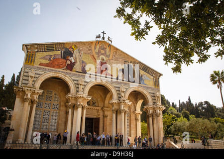 The Basilica of the Agony or the Church of all Nations at the Garden of Gethsemane, Jerusalem, Israel. - Stock Photo