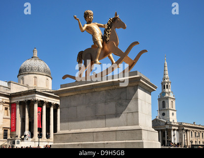 London, England, UK. Trafalgar Square - the Fourth Plinth. 'Powerless Structures Fig. 101' by Elmgreen and Dragset - Stock Photo