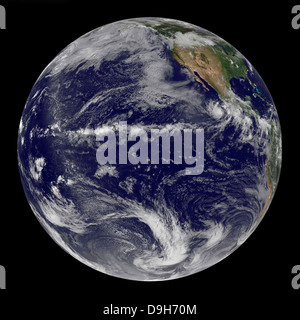 Satellite image of Earth centered over the Pacific Ocean on June 17, 2010. - Stock Photo