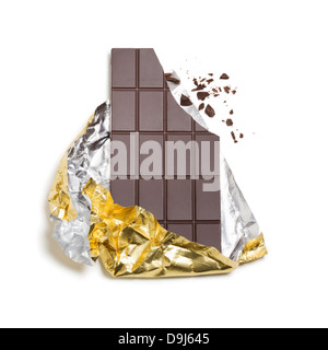 Broken chocolate bar wrapped in foil on white background, - Stock Photo