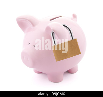Financial insurance. Piggy bank with padlock - Stock Photo