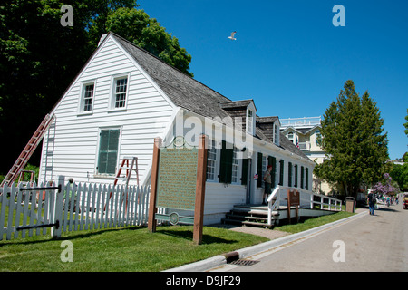 Michigan, Market Street, Mackinac Island. Historic Biddle House, the oldest house on the island dating back to the - Stock Photo