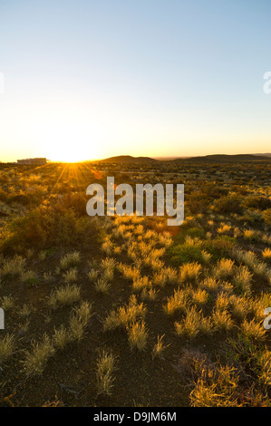 A lodge in the Karoo at sunset, Prince Albert, Western Cape, South Africa - Stock Photo
