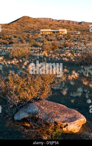 Karoo vegetation and lodge, Prince Albert, Western Cape, South Africa - Stock Photo