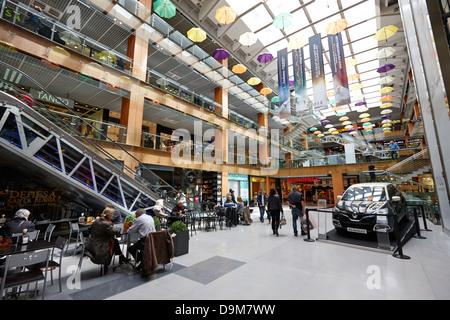 interior of illa carlemany shopping centre in andorra la vella andorra - Stock Photo