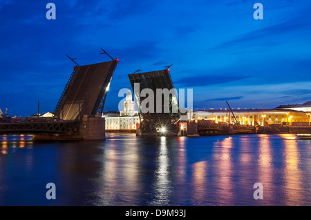 Raised Palace Bridge over the river Neva in St. Petersburg, Russia. Under construction. - Stock Photo