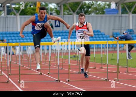 Manchester, UK. 22 June 2013. Northern Athletics Championships  Sportcity, Manchester. Curtis Mitchell (343 Preston - Stock Photo