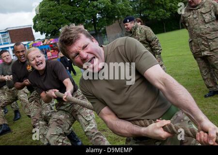 British Military Fitness, Tug of War team at Preston UK, 22 June 2013. 103rd (Lancashire Artillery Volunteers) Regiment - Stock Photo