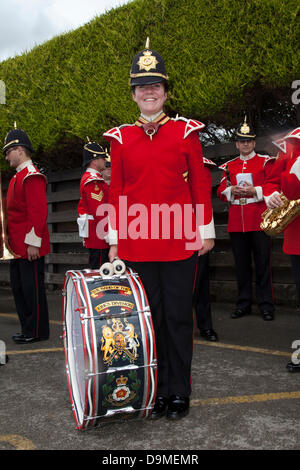 Preston UK, 22 June 2013. Regular Devon Rae, 22  a female drummer in the Band of The King's Division based at Weeton - Stock Photo