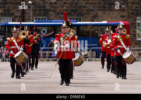 Parade of uniformed British Army Bandsmen at Preston UK, 22 June 2013. The Band of The King's Division based at - Stock Photo