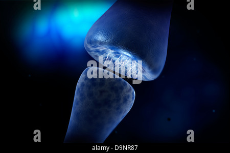 Conceptual image of synapse of neuron inside brain. - Stock Photo
