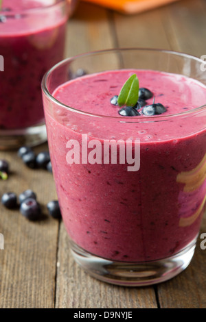 summer blueberry smoothie in a glass, close up - Stock Photo