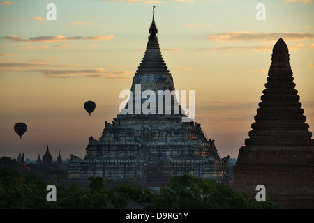 two baloons over the Temples of Bagan, Myanmar (Burma) - Stock Photo