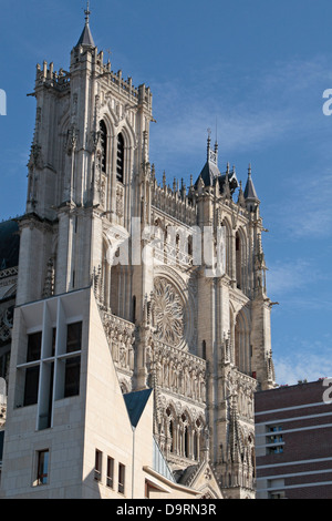 Distant view over rooftops towards the Cathedral of Our Lady of Amiens (Amiens Cathedral), Amiens, Somme, Picardy, - Stock Photo