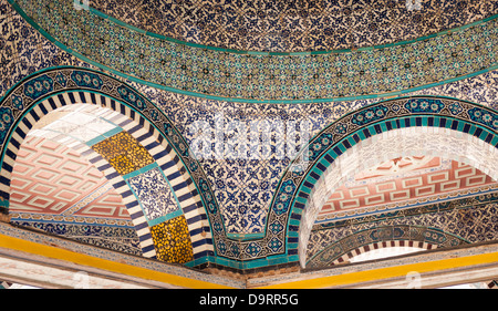 Israel Old City Jerusalem Haram Esh Sharif Noble Sanctuary Temple Mount Dome of the Chain 13 century tile detail - Stock Photo