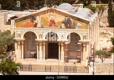 Israel Jerusalem Old City Mount of Olives Basilica of the Agony or Church of All Nations in Garden of Gethsemane - Stock Photo
