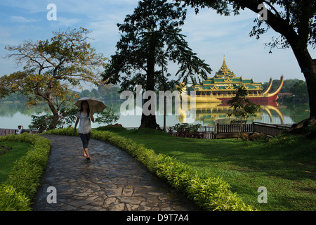 The Karaweik, Kandawgyi Lake, Yangon, Myanmar (Burma) - Stock Photo