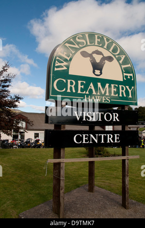Sign for the Wensleydale Creamery, Hawes, Yorkshire, England - Stock Photo
