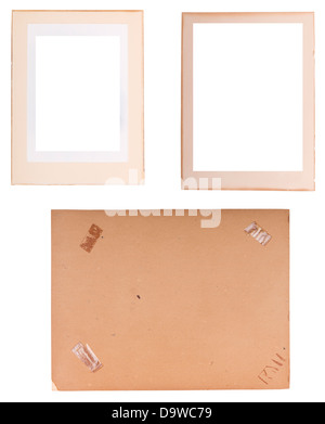 Collection of old photo frames, edges and backings with sticky tape isolated on white - Stock Photo