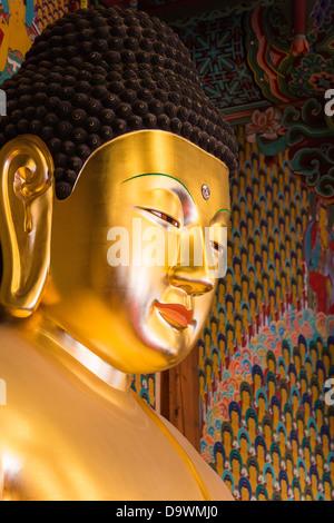 Buddha statue inside Joyesa Temple, Jongno-gu district, Seoul, South Korea, Asia - Stock Photo